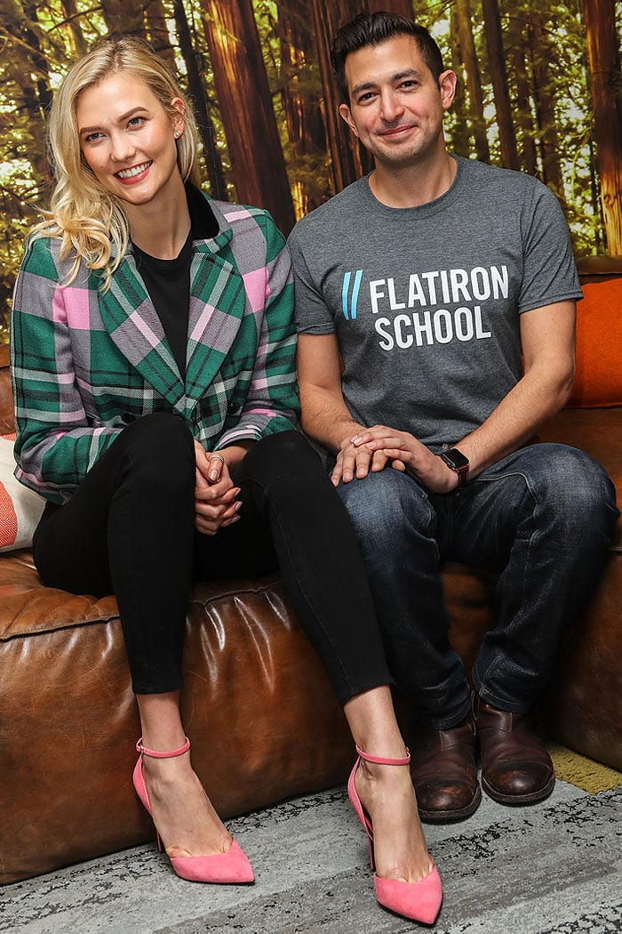 Karlie Kloss with Avi Flombaum, Co-Founder of Flatiron School, where Karlie herself learned to code at the school's New York City location in 2014.