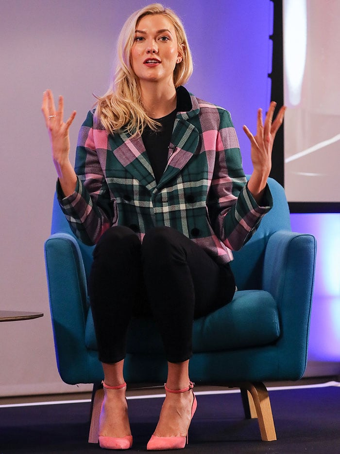 Karlie Kloss discussing the future of tech skills at Flatiron School panel at WeWork Moorgate in London, England, on April 9, 2018.