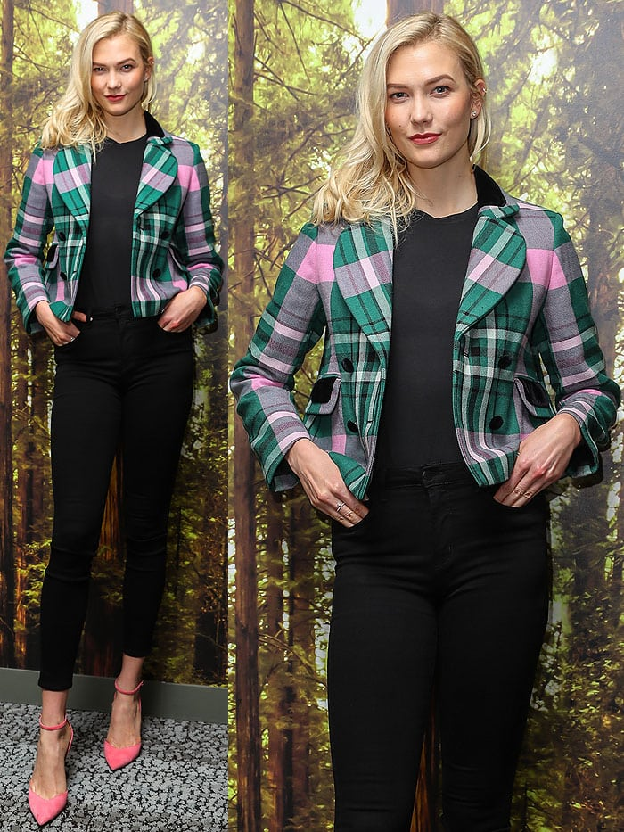 Karlie Kloss wearing a Philosophy Di Lorenzo Serafini Pre-Fall 2017 plaid jacket, L'agence 'Margot' jeans in Noir, and Stella Luna 'Indispensable' ankle-strap pumps.
