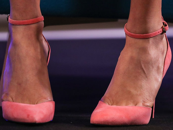 Closeup of Karlie Kloss' Stella Luna 'Indispensable' ankle-strap pumps.
