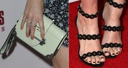 30999880ef70 Kate Mara Shows Off Black Polished Toes and Prada  Cahier  Shoulder Bag