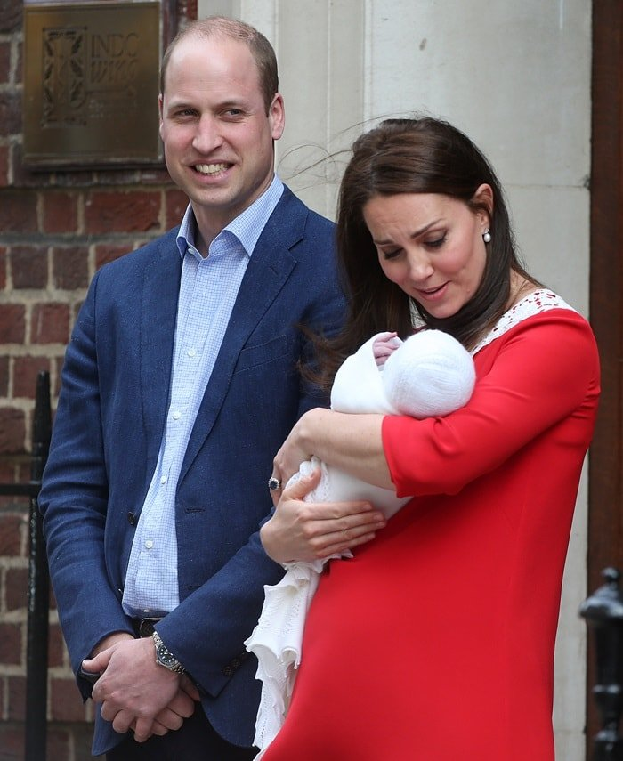 The Duke and Duchess of Cambridge leave the Lindo Wing of St. Mary's Hospital with their new born son on April 23, 2018