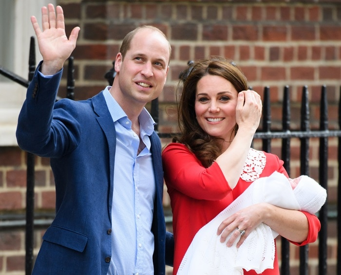 Kate Middleton and Prince William leaving their hospital in London, England, with their third child