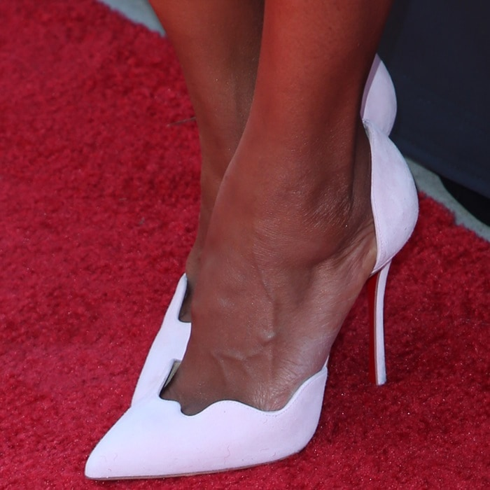 "Kerry Washington in white ""Miss Naseeba"" d'Orsay pumps with wave detail toe box"