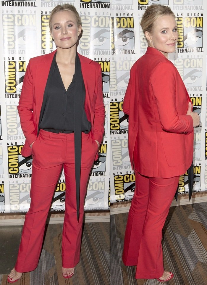 Kristen Bell in a redAnine Bing suit and matching'New Darsey' strappy mules