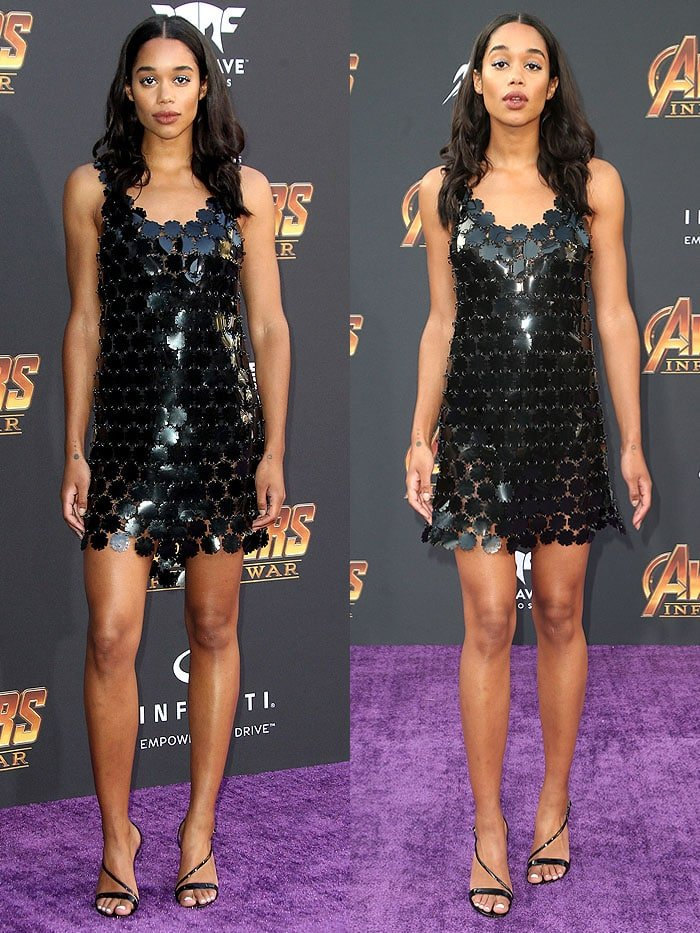 Laura Harrier in a Paco Rabanne Fall 2018 flower-paillette assemblage dress and Gianvito Rossi 'Carlyle' sandals.