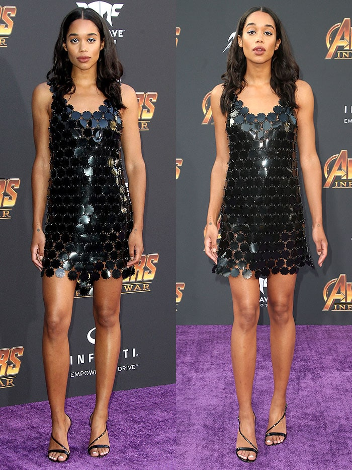 Laura Harrier in aPaco Rabanne Fall 2018 flower-paillette assemblage dress and Gianvito Rossi 'Carlyle' sandals.