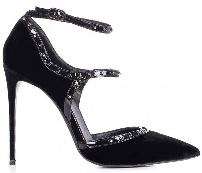 Le Silla Borgia Studded-Strap Black Velvet Pumps