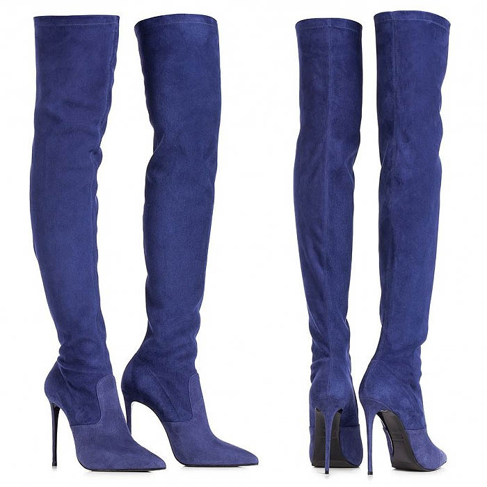 Cobalt Blue Le Silla Stretch-Suede Thigh-High Boots