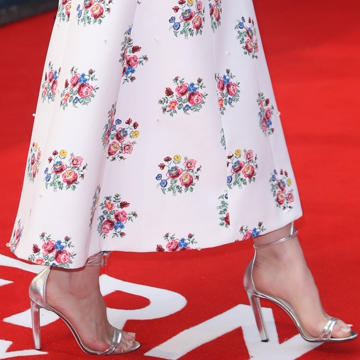 Lily James' feet in silver metallic Jimmy Choo sandals