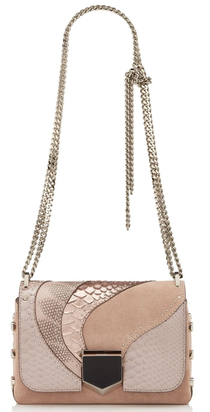 The sexy and feminine Lockett Petite shoulder bag, in ballet pink mix suede with exotic patchwork