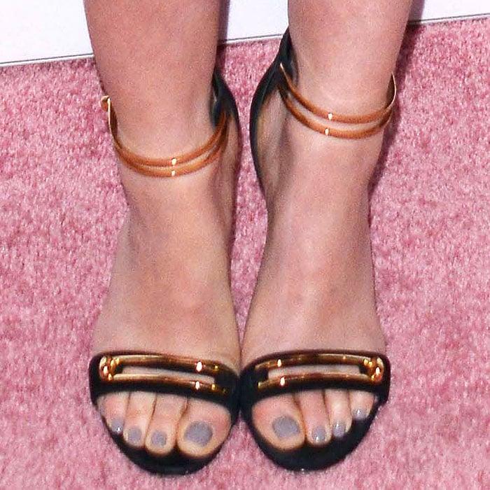 Details of Lucy Hale's Stella Luna 'Stella' turnlock-ankle-strap sandals.