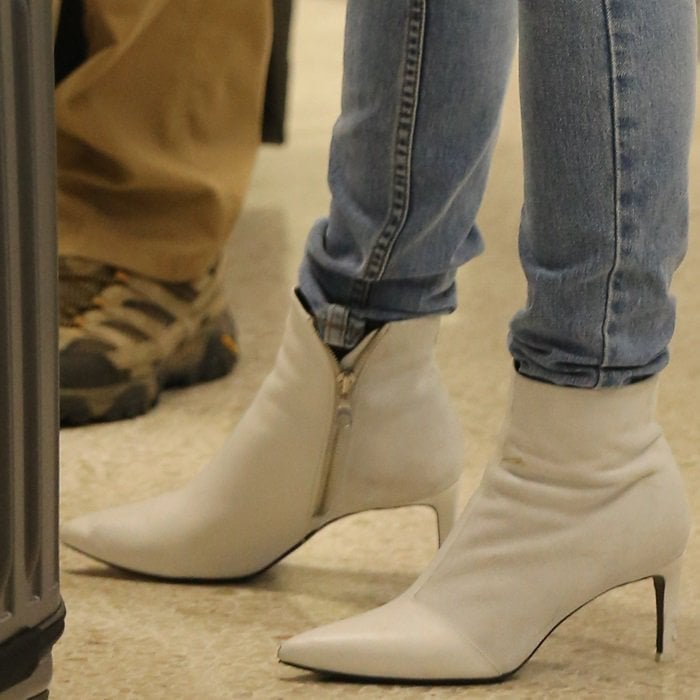 Lucy Hale's white pointy toe 'Beha' booties from Rag & Bone