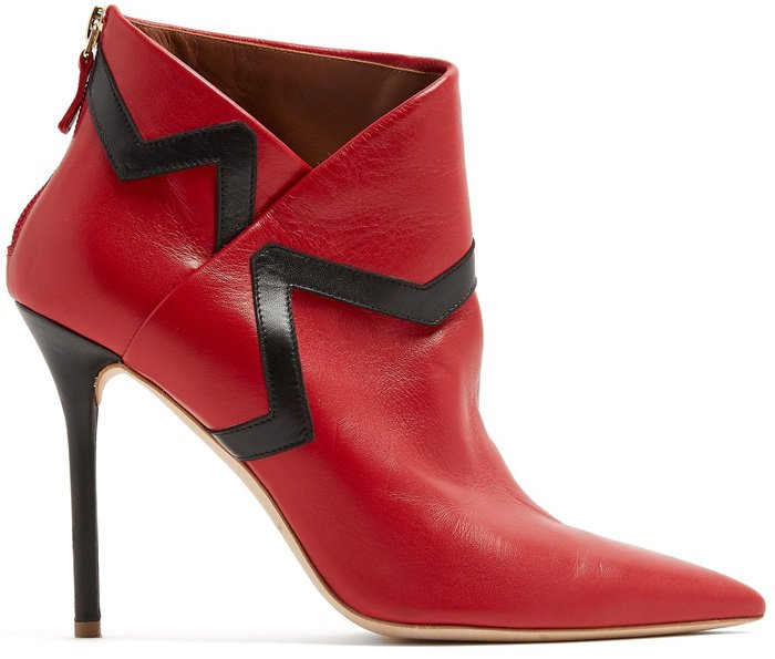 These red booties crafted from leather to asymmetrically encase the ankle