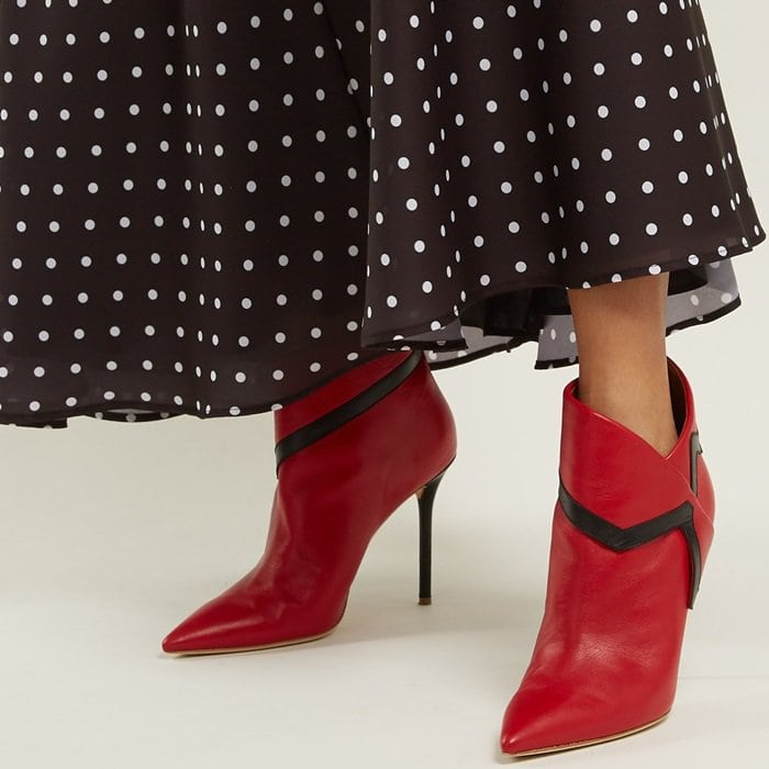 Red Leather Point-Toe 'Amelie' Booties