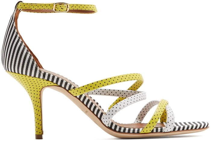 This summer-ready stiletto style is crafted from leather and features slim crossover straps to anchor the foot