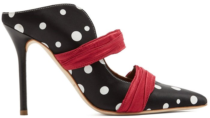 Black and White 'Maureen' Polka-Dot Mules