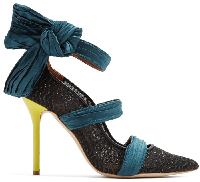 This black mesh point-toe pair is detailed with crinkled blue straps and set on bright yellow heels