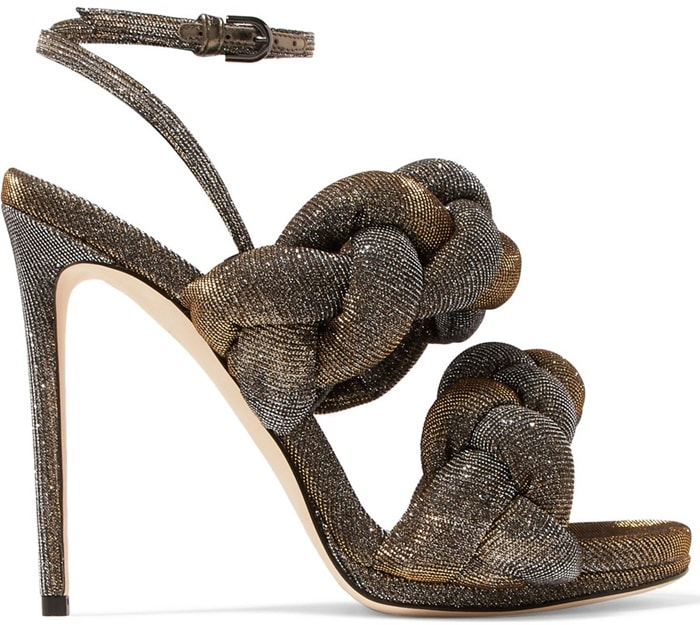 Braided textured-lamé sandals