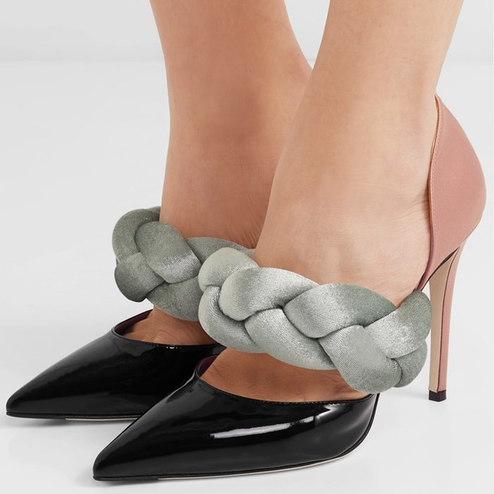 Braided velvet, satin and patent-leather pumps
