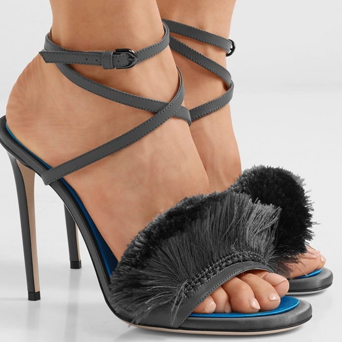 Fringed satin and leather sandals