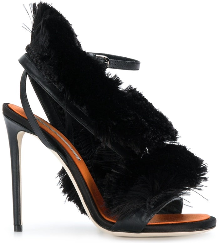 Black leather fringed strappy sandals from Marco De Vincenzo
