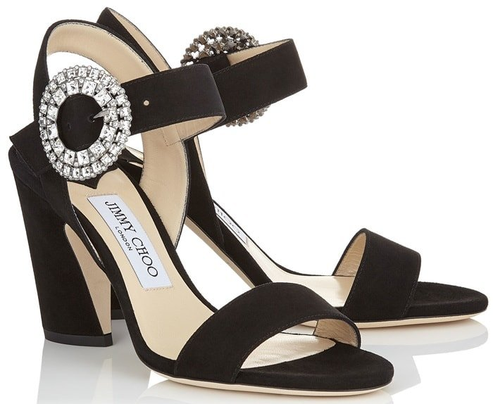 Black Suede Slingback 'Mischa' Sandals with Crystal Buckle