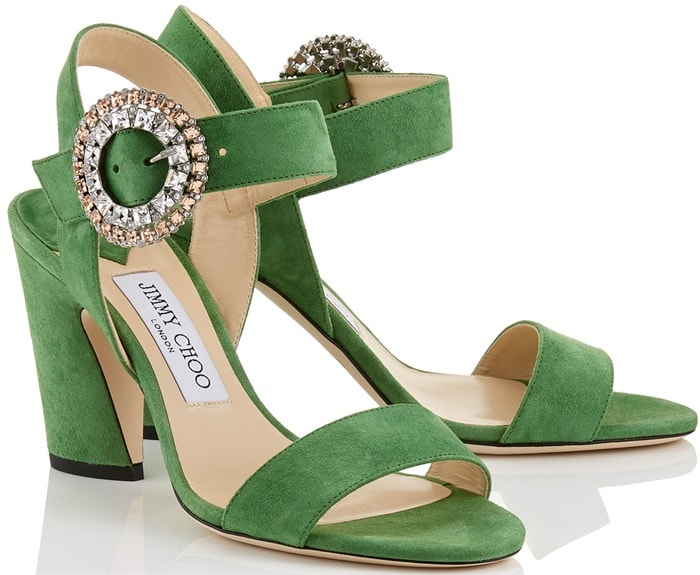 Lime Suede Slingback 'Mischa' Sandals with Crystal Buckle
