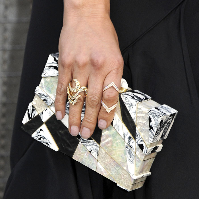 Details of Malin Akerman's Emm Kuo clutch and APM Monaco, Anita Ko, and H. Stern jewelry.