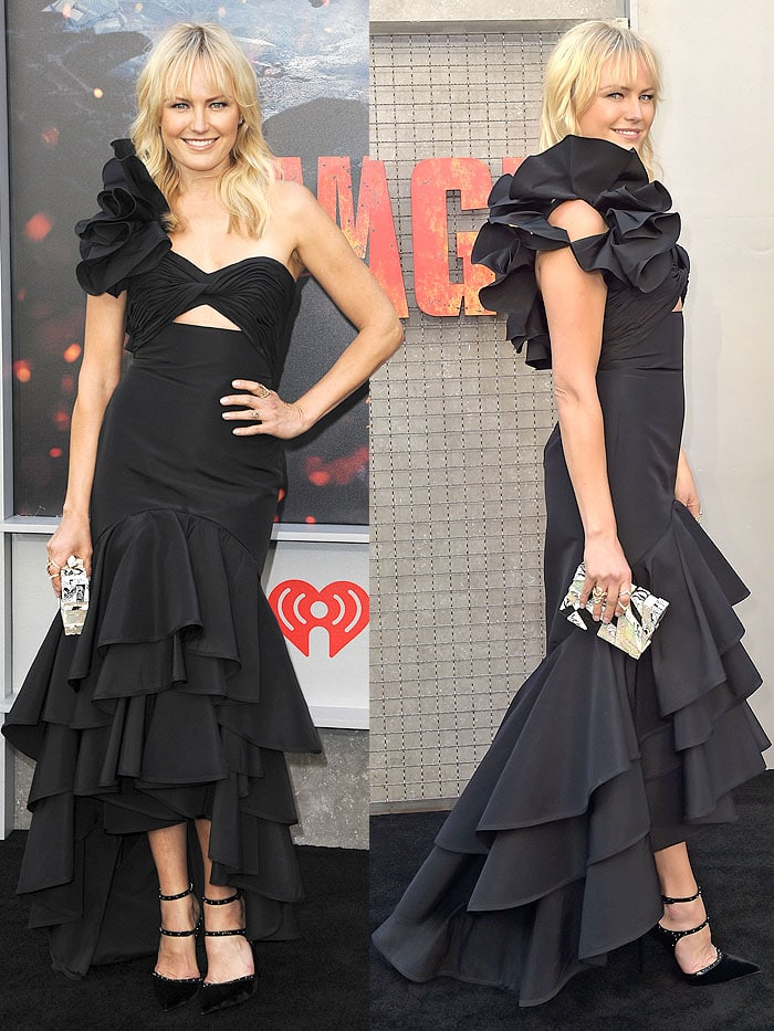 Malin Akerman wearing a Johanna Ortiz black ruffled one-shoulder dress and Le Silla 'Borgia' pumps accessorized with an Emm Kuo clutch and APM Monaco, Anita Ko, and H. Stern jewelry.