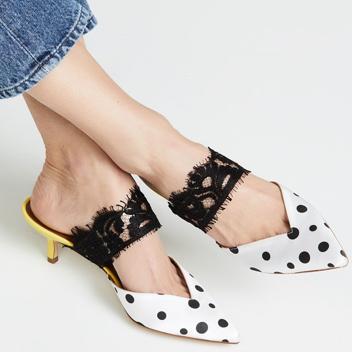 The Maisie mules have been crafted from satin and covered in retro-influenced polka dots, with a modest kitten heel in daffodil yellow for chic balance