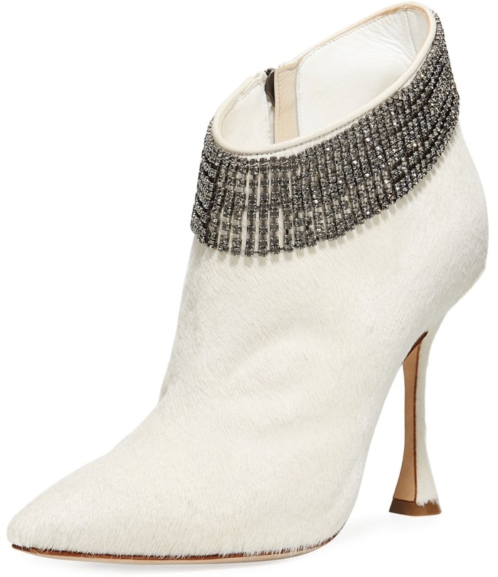 Manolo Blahnik 'Bomabi' Calf Hair and Crystal Booties