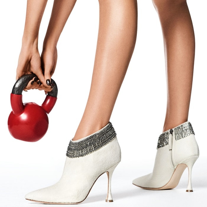 White 'Bomabi' bootie in dyed calf hair with crystal trim