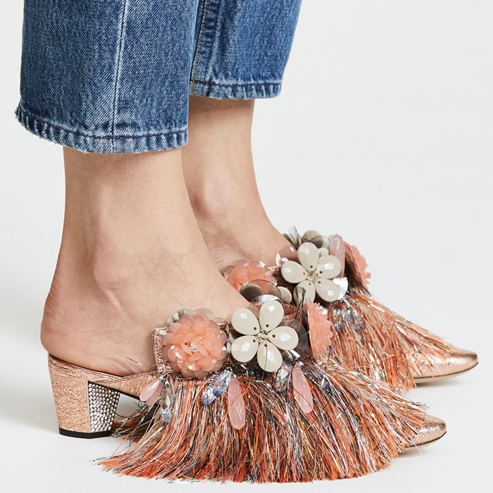 These effortless mules have a stunning embellished upper with fun, tinsel fringe