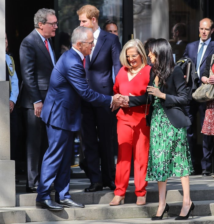 Prince Harry and Meghan Markle arrive at Australia House in London on April 21, 2018, to meet with the Australian High Commissioner in the lead up to Invictus Games