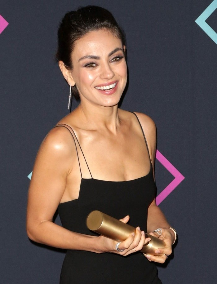 Mila Kunis won the award for Comedy Movie Star of 2018 for her work in 'The Spy Who Dumped Me' at the 2018 Peoples' Choice Awards at Barker Hangar in Santa Monica, California, on November 11, 2018