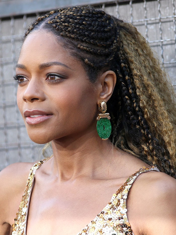 Naomie Harris wearing David Webb jade-and-gold earrings