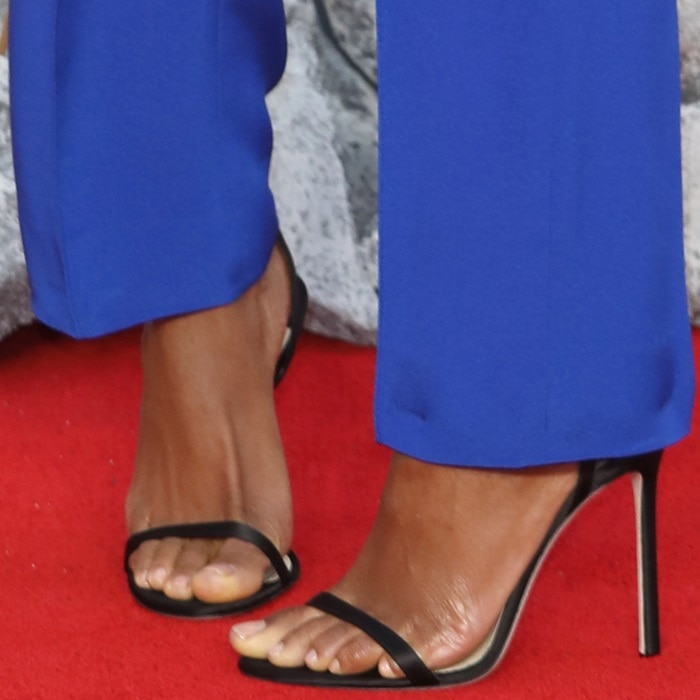 Naomie Harris' feet in black Jimmy Choo 'Minny' sandals