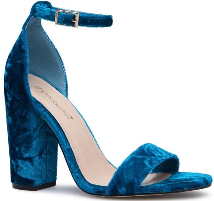 Teal Velvet Two-Strap Blocked Heels