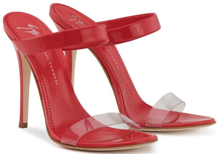 Plexi and red patent leather 'New Darsey' mules