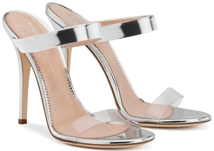 Plexi and silver patent leather 'New Darsey' mules