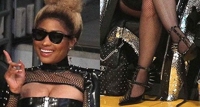 29ef9d46112 Nicki Minaj Does the Most in Leather Bodysuit and Spiked Pumps