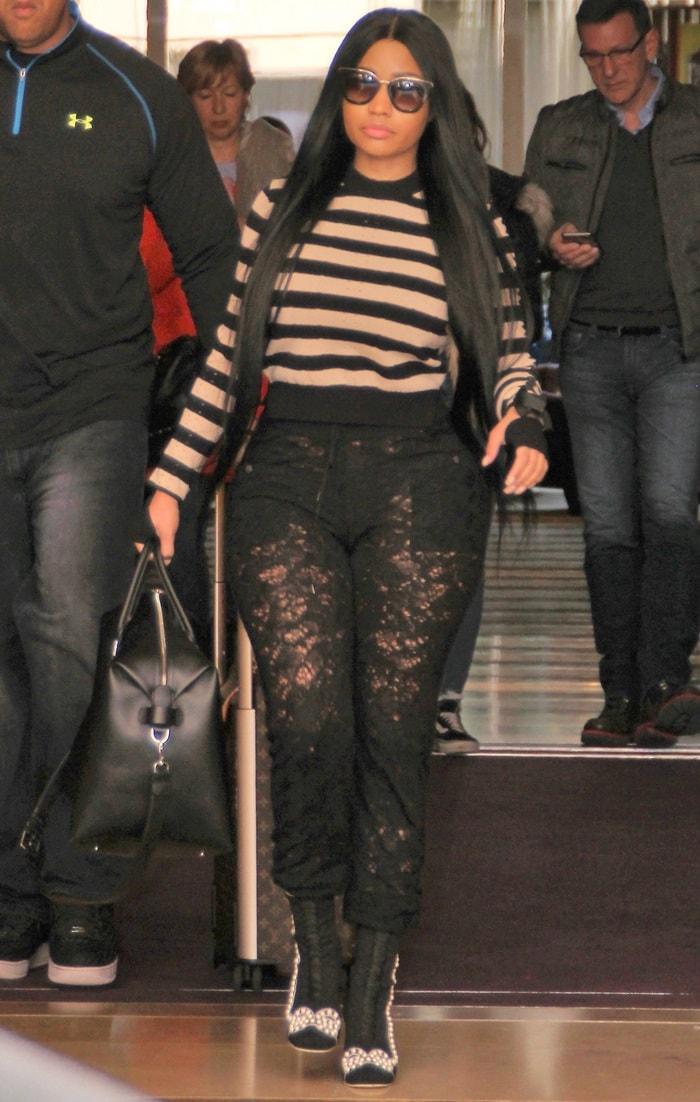 Nicki Minaj's crystal-embellished lace boots