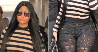 d38842cbfdc Nicki Minaj Leaves Paris Hotel in Crystal-Embellished Lace Boots