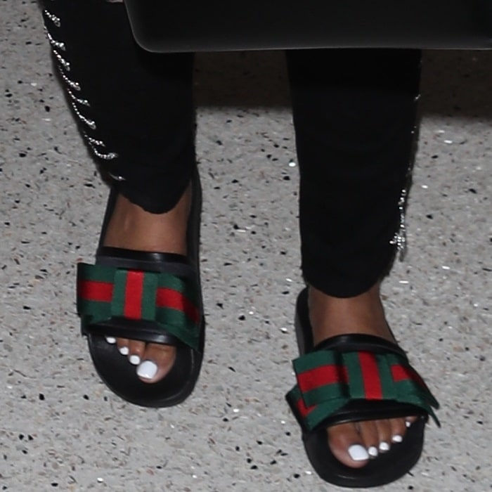 61b0bfe2026 Nicki Minaj Resurfaces in  Pursuit  Bow Slide Sandals by Gucci