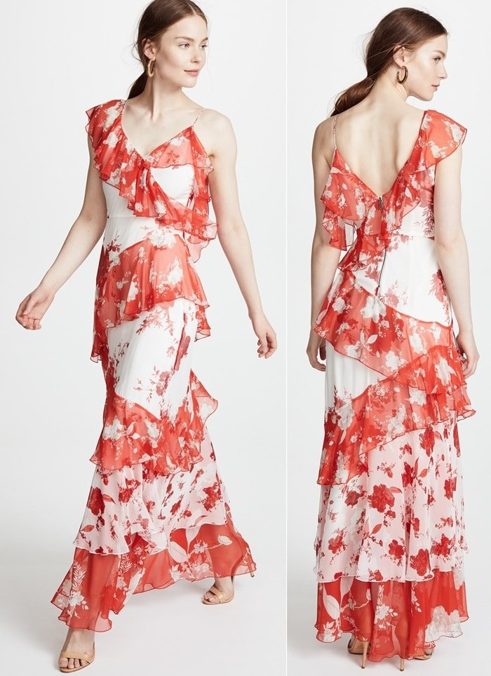A super-intriguing maxi dress with asymmetrical ruffles and sleeves