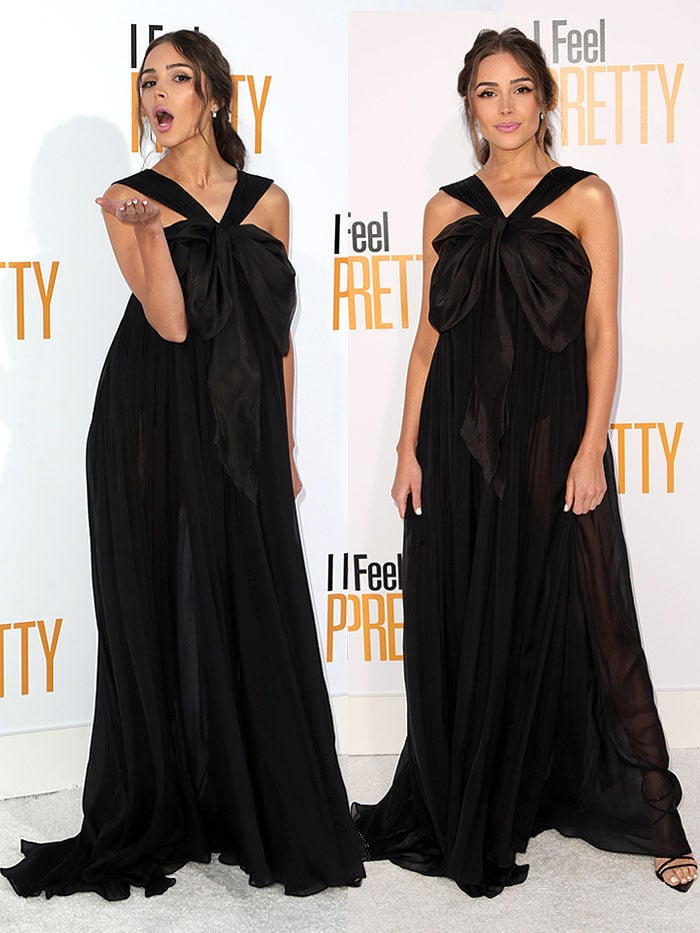 """Olivia Culpo wearing an Ester Abner Spring 2018 sheer black gown and Gianvito Rossi 'Kim' sandals to the """"I Feel Pretty"""" premiere."""