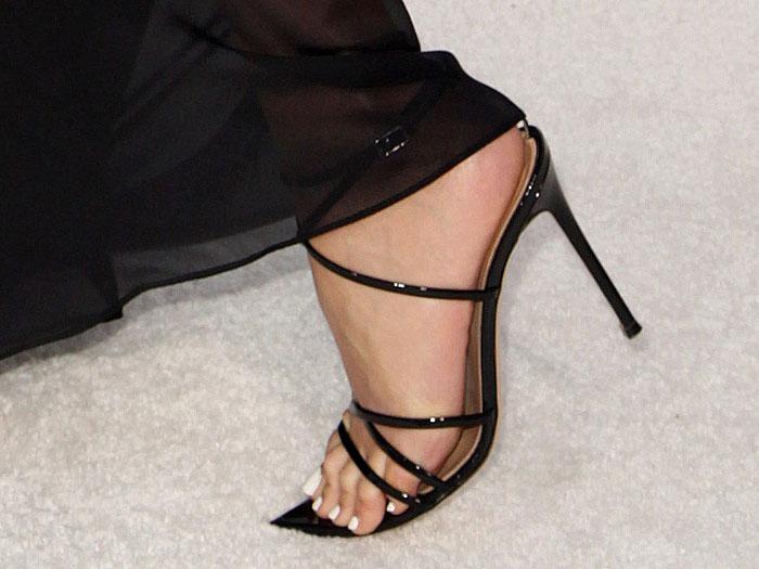 Closeup ofOlivia Culpo's Gianvito Rossi Kim sandals