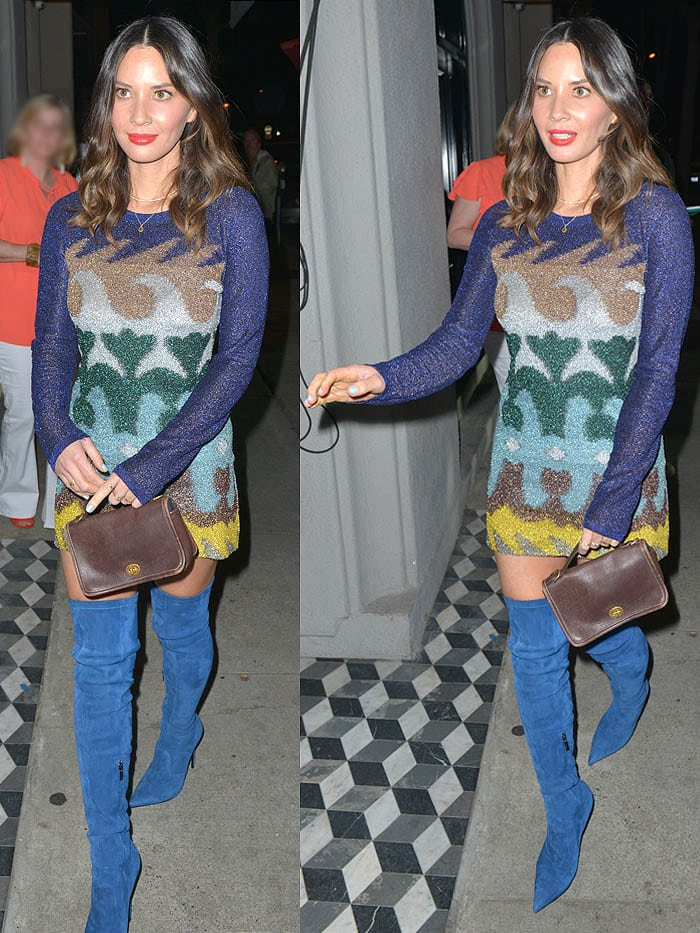 Olivia Munn wearing a Missoni multi-print long-sleeved minidress and Le Silla blue thigh-high boots.