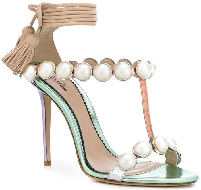 This mirrored leather version comes in an unexpectedly beautiful combination of green, lilac and rose gold embellished with rows of oversized faux-pearls